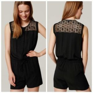 NWT LOFT Lace Black Romper with Pockets